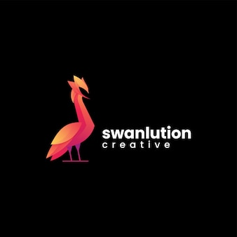 Vektor logo illustration schwan farbverlauf bunte stil