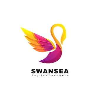 Vektor-logo-illustration schwanenmeer-farbverlauf bunter stil