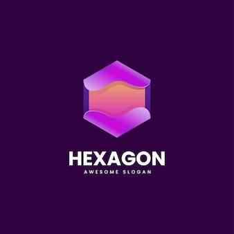 Vektor logo illustration sechseck farbverlauf bunte stil