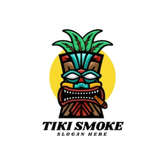 Vektor logo illustration tiki rauch maskottchen cartoon stil