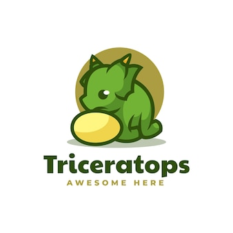 Vektor logo illustration triceratops einfache maskottchen stil