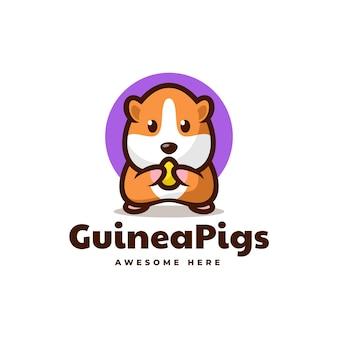 Vektor-logo-illustration von meerschweinchen-maskottchen-karikatur-stil