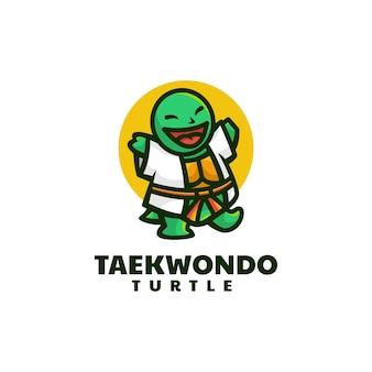 Vektor-logo-illustration von taekwondo-schildkröten-maskottchen-karikatur-stil