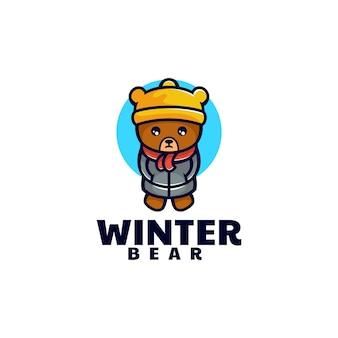 Vektor logo illustration winter bär maskottchen cartoon stil