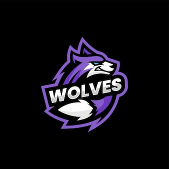 Vektor-logo-illustration wolf e sport und sport-stil