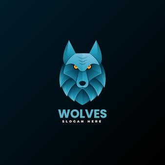 Vektor logo illustration wolf farbverlauf bunten stil