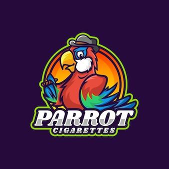 Vektor logo illustration zigarette papagei maskottchen cartoon stil