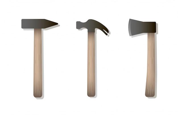 Vektor lokalisierte ikonen des hammers