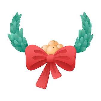 Vektor lokalisierte karikaturillustration des traditionellen weihnachtsmistelkranzes mit bogen und bündel beeren.