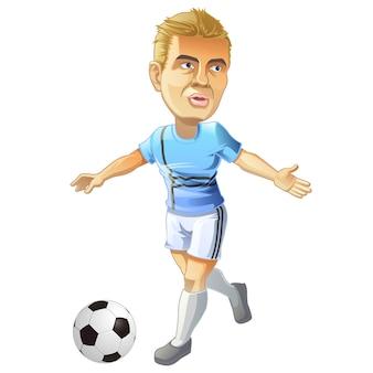 Vektor lokalisierter fußballspielercharakter und -ball in der karikaturart.