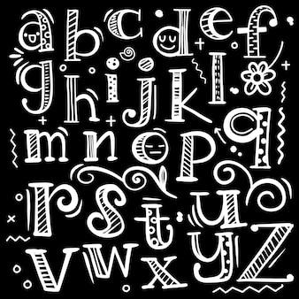 Vektor lustige comics schriftart. übergeben sie gezogenes englisches alphabet der bunten kapitalkarikatur mit großbuchstaben