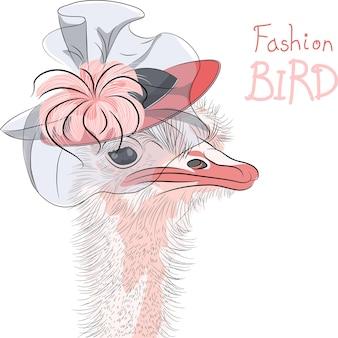 Vektor lustige mode strauß vogel in einem schönen hut