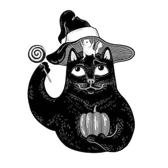 Vektor lustige schwarze katze mit chipmunk-kürbis und lutscher doodle treak oder leckerei