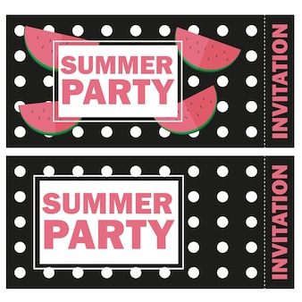 Vektor lustige sommer ungewöhnliche hintergrundeinladung mit wassermelone - sommerfest auf schwarzem hintergrund isoliert