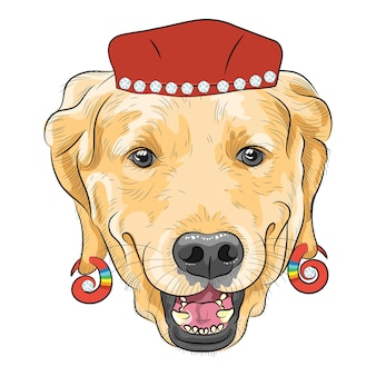 Vektor lustiger cartoon-hipster-hund labrador retriever