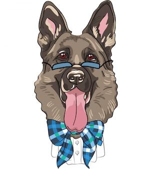 Vektor lustiger karikatur-hipster-hund deutscher schäferhund