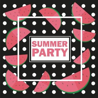 Vektor lustiger sommer ungewöhnlicher hintergrund mit wassermelone - sommerfest auf schwarzem hintergrund isoliert