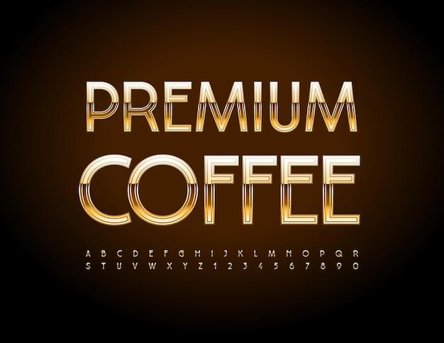 Vektor-luxus-abzeichen premium-kaffee stilvolle elite-schriftart elegante gold-alphabet-buchstaben und zahlen