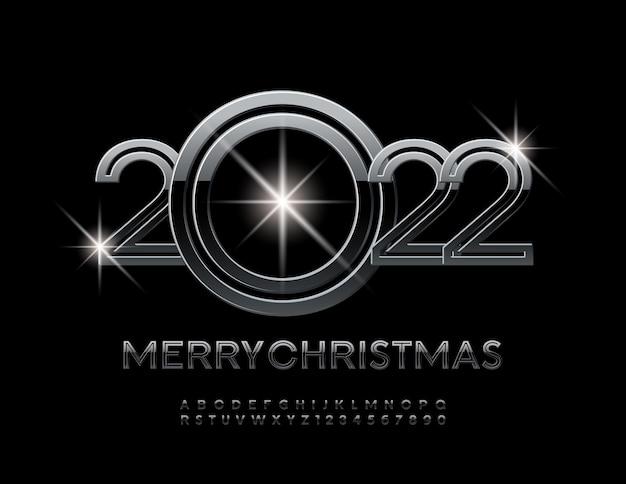 Vektor-luxus-grußkarte frohe weihnachten 2022 dark metallic font alphabet buchstaben und zahlen