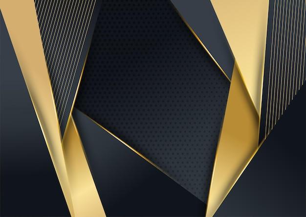 Vektor-luxus-tech-hintergrund. stapel aus schwarzer papiermaterialschicht mit goldstreifen. premium-tapete in pfeilform