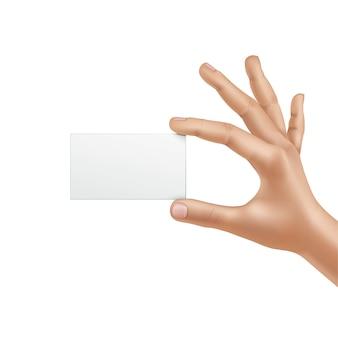 Vektor-männliche hand, die leere karte hält, lokalisiert auf weißem hintergrund