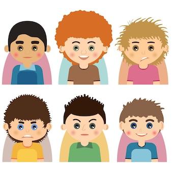 Vektor männlicher mann-charakter steht avataren gegenüber. satz leuteikonen mit gesichtern. cartoon-stil steht avataren des menschen gegenüber. isolierte vektorzeichen.