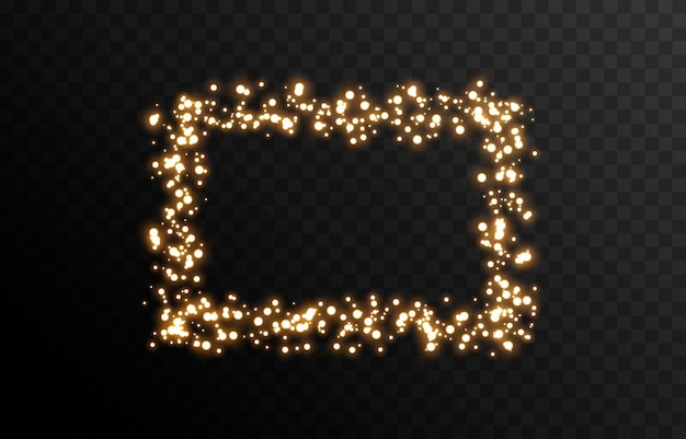 Vektor magisches glühen funkelndes licht funkelnder staub png glühender rahmen weihnachtslicht