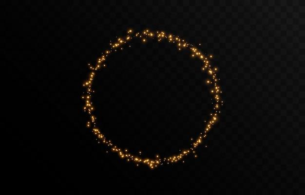 Vektor magisches glühen funkelndes licht funkelnder staub png glühender rahmenkreis weihnachtslicht