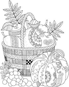 Vektor malbuch für erwachsene. erntedank. korb mit äpfeln.