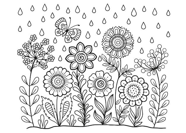 Vektor-malbuch für erwachsene. sommer wilde wiesenblumen. vektor isolierte elemente