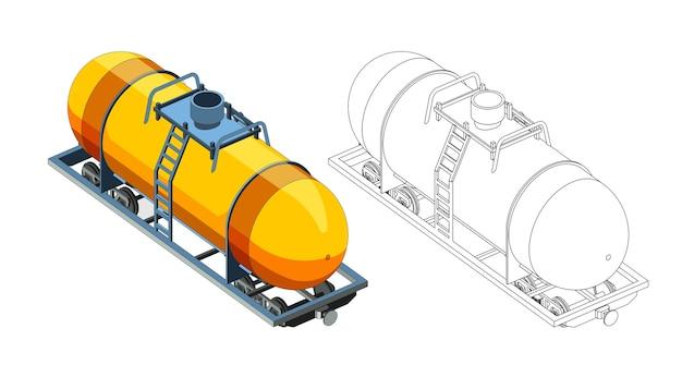 Vektor malvorlagen mit 3d-modell wagen kanister mit gas oder benzin. isometrische vorderansicht. isoliert. malvorlage und bunter zug.