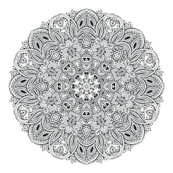 Vektor-mandala-muster von henna-blumenelementen basierend auf traditionellen asiatischen ornamenten. paisley mehndi tattoo doodle illustration mit handgezeichneten elementen