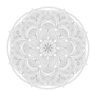Vektor-mandala zum ausmalen rundes muster mit dekorativen elementen