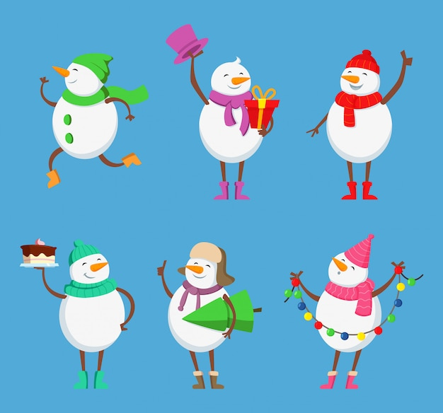 Vektor-maskottchen-design von lustigen schneemännern. weihnachtszeichen gesetzt. schneemannwintercharakter für feiertagsweihnachtsillustration