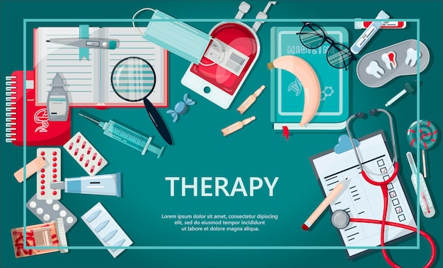 Vektor medizinische banner-apothekenvorlage für krankenhäuser, die apotheken ausbilden, die internationale ... Premium Vektoren