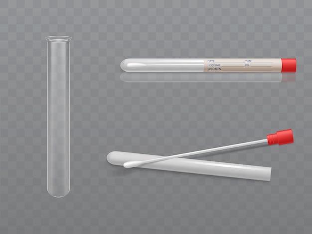 Vektor medizinisches set zur analyse - q-tip mit wattestäbchen und reagenzglas