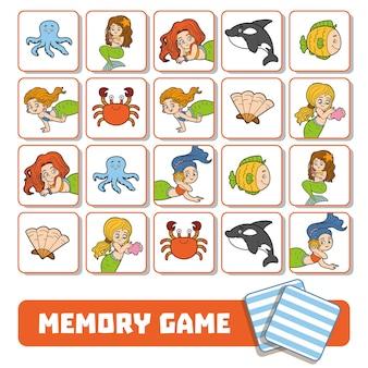 Vektor-memory-spiel für kinder, karten mit meerjungfrauen und fischen