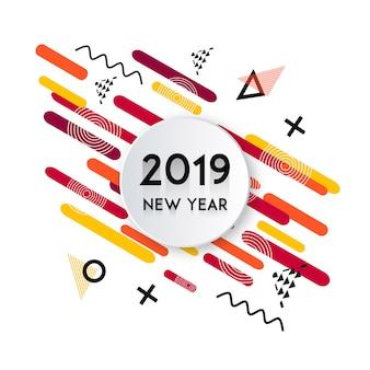 Vektor memphis 2019 neues jahr design