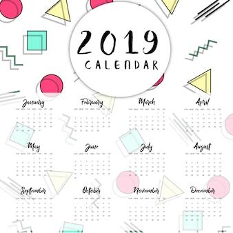 Vektor-memphis-kalender für das neue jahr