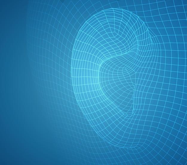 Vektor menschliches ohr. hörbehandlung, plastische chirurgie, implantation