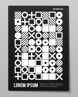 Vektor minimalistisches plakat mit einfachen formen. abstraktes layout im schweizer stil. konzeptionelle generative form moderne zeitschrift, buchcover.