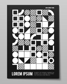 Vektor minimalistisches plakat mit einfachen formen. verfahrensgeometrie. abstraktes layout im schweizer stil. konzeptioneller generativer hintergrund aus modernem journal, buchcover, branding, geschäftspräsentationen.