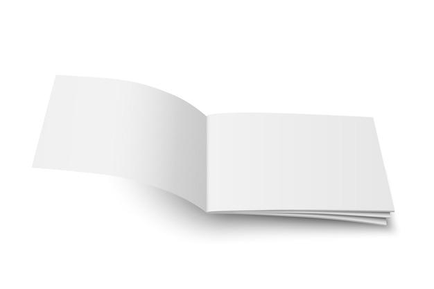 Vektor-mock-up von buch oder zeitschrift weiße leere abdeckung isoliert. fliegen geöffnete horizontale zeitschrift, broschüre, broschüre, schreibheft oder notizbuchschablone auf weißem hintergrund. 3d-darstellung.