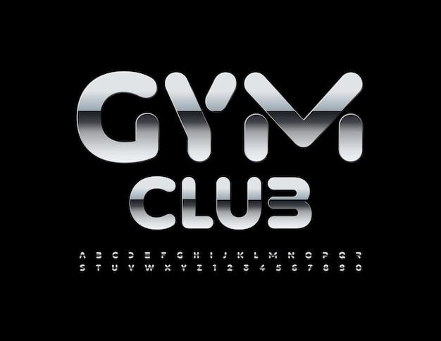Vektor modernes logo gym club metallic kreative alphabet buchstaben und zahlen gesetzt stilvolle eisenschrift