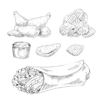Vektor-monochromskizze des schnellimbisses gesetzte hand gezeichnete
