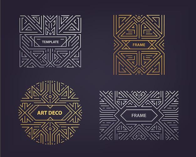 Vektor-monogramm-design-elemente im trendigen vintage- und mono-line-stil mit platz für text - abstrakte goldene und silberne geometrische rahmen, verpackungsvorlage. verwenden sie für anzeige, poster, karte, cover. art deco