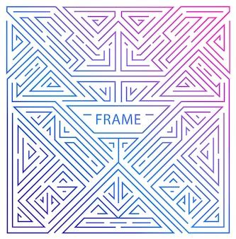 Vektor-monogramm-design-elemente im trendigen vintage- und mono-line-stil mit platz für text - abstrakter geometrischer rahmen, verpackungsvorlage für luxusprodukte. verwenden sie für anzeige, poster, karte, cover.