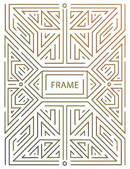 Vektor-monogramm-design-elemente im trendigen vintage- und mono-line-stil mit platz für text - abstrakter goldener geometrischer rahmen, verpackungsvorlage für luxusprodukte. verwenden sie für anzeige, poster, karte, cover.