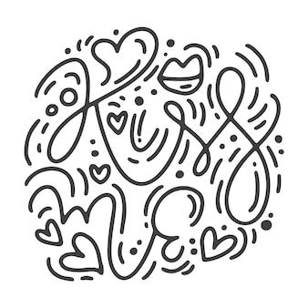Vektor monoline kalligraphie satz küss mich.