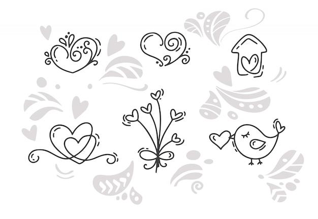 Vektor monoline valentinstag handgezeichnete elemente. fröhlichen valentinstag. feiertagsskizzen-gekritzel designkarte mit herzen.